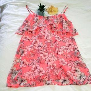 Sun dress bright coral color